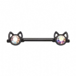 Black Crystal Cat Face Forward Facing Nipple Bar