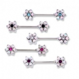 Double Opal Flower Forward Facing Nipple Bar