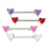 Double Prong Opal Heart Forward Facing Nipple Bar