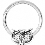 Owl with Crystal Eyes BCR Ball Closure Ring