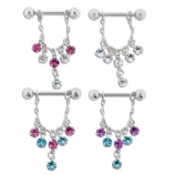 Sparkly Diamante Droppers Dangle Nipple Bar