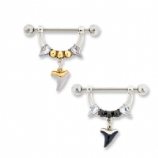 Shark Tooth Crystal Dangle Nipple Bar