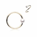 Gold Pearl Ball Surgical Steel Seam Ring