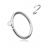 Opal Crystal Surgical Steel Seam Ring