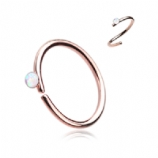 Opal Crystal Rose Gold Surgical Steel Seam Ring