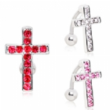 Crystal Cross Reverse Belly Piercing Bar