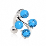 Four Turquoise Stone Vine Reverse Belly Piercing Bar