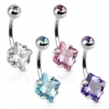 Square Crystal Belly Piercing Bar
