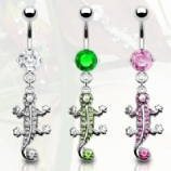 Gecko Lizard Crystal Dangle Belly Bar