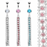 Crystal Diamante Chain Dangle Belly Bar