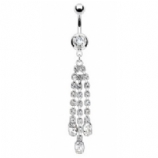 Diamante Strands White Crystal Triple Dangle Belly Bar