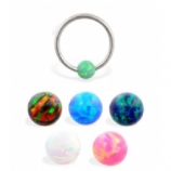 Opal Stone Bead Ball Closure Ring - 1.2mm