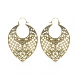 Crosshatch Leaf Ear Rings - Pair