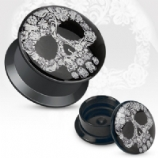 Floral Skull Acrylic Screw On Flesh Plug 3mm - 20mm