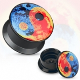 Sky Yin Yang Acrylic Screw On Flesh Plug 3mm - 20mm