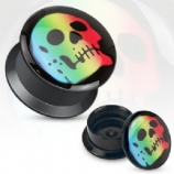 Rainbow Skull Acrylic Screw On Flesh Plug 3mm - 16mm