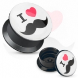 I Love Heart Moustaches Acrylic Screw On Flesh Plug 3mm - 20mm