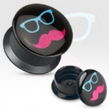 Sunglasses Moustache Acrylic Screw On Flesh Plug 3mm - 20mm