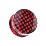 Red/Black Chequered Logo Acrylic Saddle Plug 5mm - 30mm