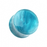 Blue Ocean Swirl Marbled Acrylic Saddle Flesh Plug 6mm - 16mm