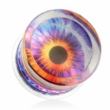 Funky Eye Encased Logo Double Flared Acrylic Plug