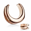 Plain Rose Gold PVD Surgical Steel Saddle Spreader Tunnel Plug Weight for Stretched Ear Lobe