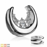 Floral Filigree Surgical Steel Saddle Spreader Tunnel Plug Weight for Stretched Ear Lobe