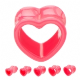 Pink Heart Acrylic Flared Tunnel 8mm-16mm
