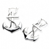 Anchor Plug Hoop Ear Rings - Pair