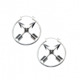 Crossed Arrows Plug Hoop Ear Rings - Pair