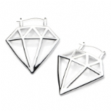 Diamond Plug Hoop Ear Rings - Pair