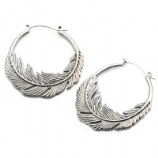 Feather Plug Hoop Ear Rings - Pair