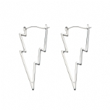 Lightning Bolt Plug Hoop Ear Rings - Pair