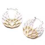 Lotus Flower Plug Hoop Ear Rings - Pair