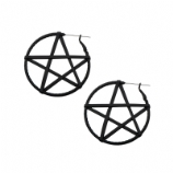 Pentagram Plug Hoop Ear Rings - Pair