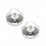 Scarab Beetle Plug Hoop Ear Rings - Pair