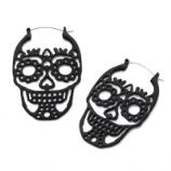 Sugar Skull Plug Hoop Ear Rings - Pair