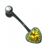 Crystal Two-Tone Heart Pregnancy Belly Piercing Bar