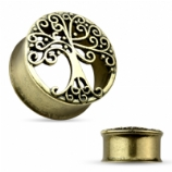 Tree Of Life Antique Gold Plated Steel Double Flared Eyelet