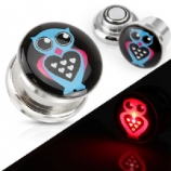 Light Up Owl Screw On Plug (pair)