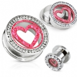 Crystal Rim with Pink Glitter Heart Steel Screw Fit Plug