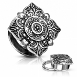 Silver Square Filigree Flower Screw Fit Plug