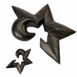 Star Shaped Organic Brown Wood Ear Spiral For Stretched Ears