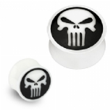 Punisher Skull Organic Bone Ear Plug