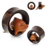 Hand Carved Dolphin Organic Sono Wood Double Flared Plug