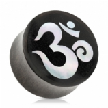 Ohm Symbol Mother Of Pearl Black Sono Wood Organic Plug
