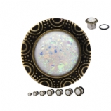 Opal & Brass Frame Surgical Steel Single Flared Eyelet