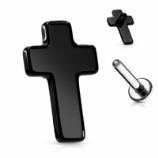 Small Black Cross Internally Threaded Labret - 1.2mm