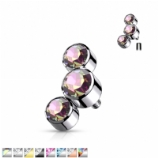 Bezel Set Three Crystal Cluster Ear Helix / Tragus Labret Stud - 1.2mm
