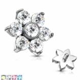 Crystal Flower Internally Threaded Ear Helix / Tragus Labret Stud - 1.2mm